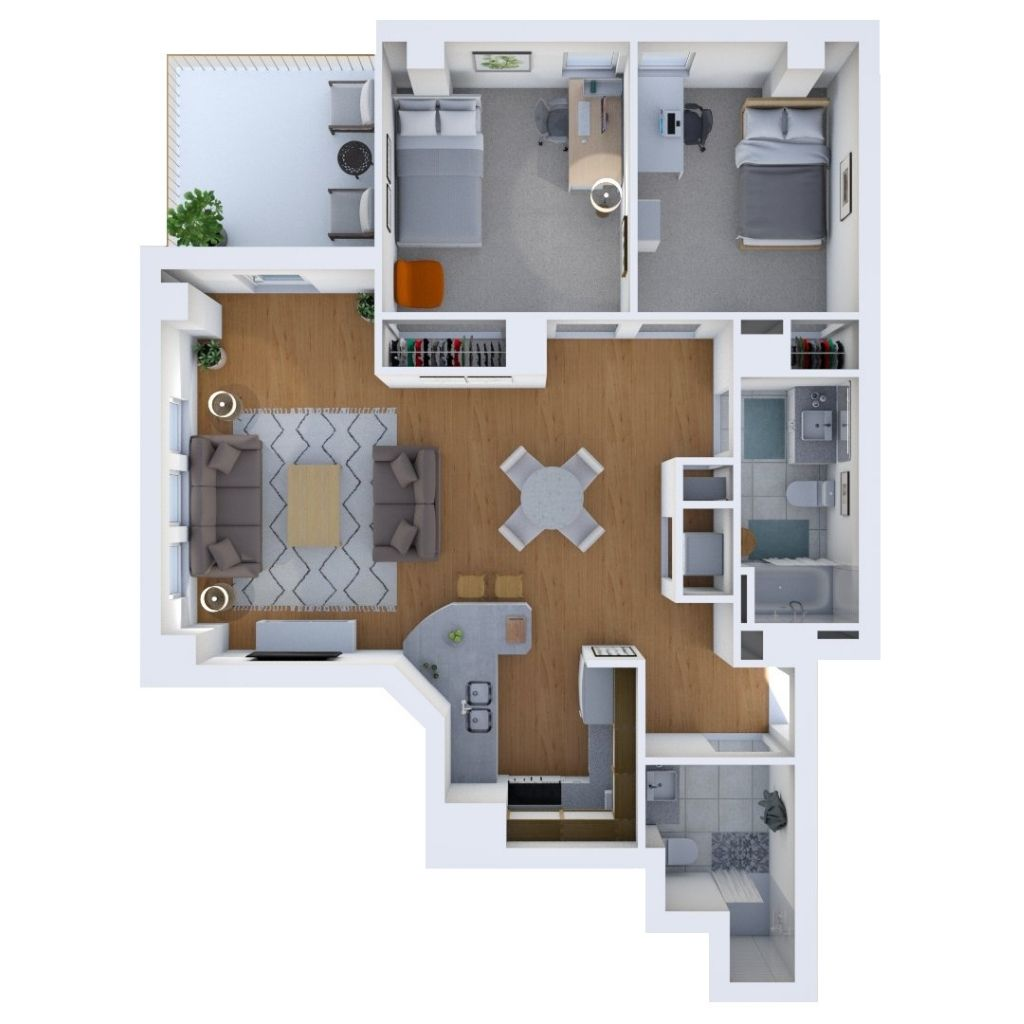 Two Bedroom Unit Floor Plan