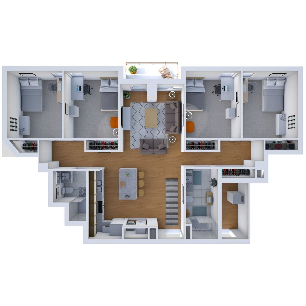 Four Bedroom Unit Floor Plan