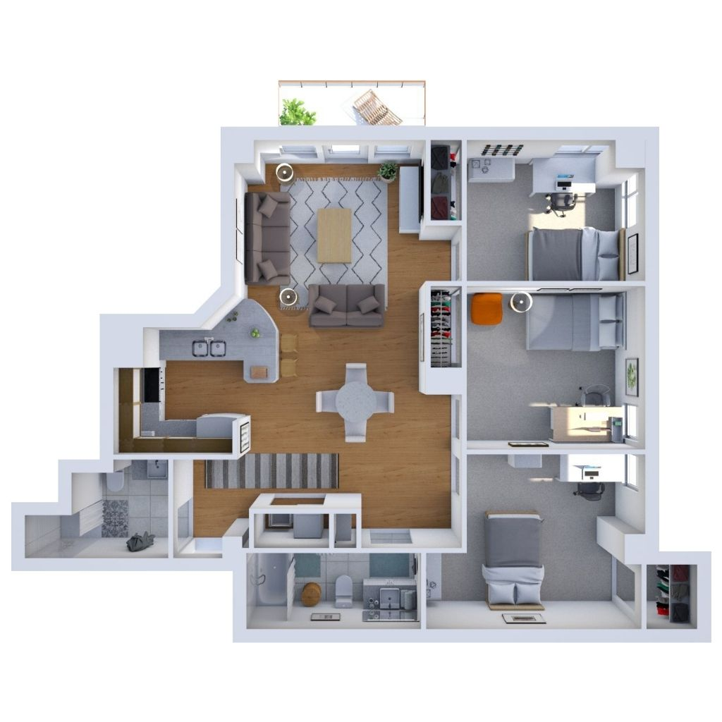 Three Bedroom Unit Floor Plan